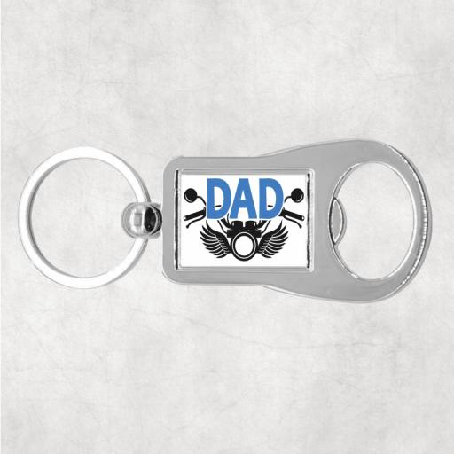Dad Motorcycle Metal Bottle Opener / Keyring