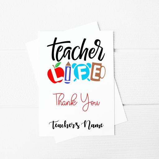 Teacher Life Personalised A5 Card & Envelope