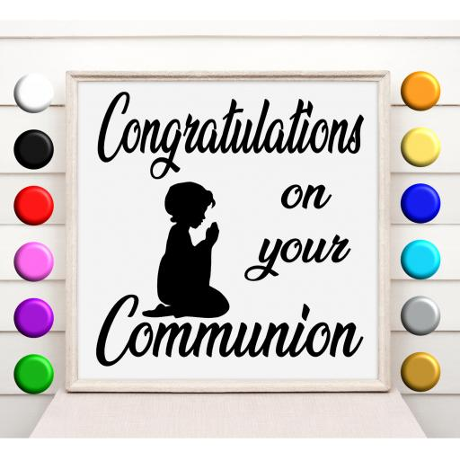 Congratulations on your Communion Vinyl Glass Block / Photo Frame Decal / Sticker / Graphic
