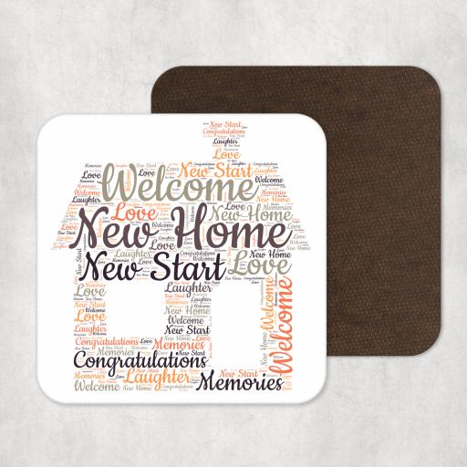 New Home Word Art Coaster