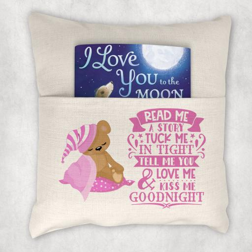 Read Me A Story Pink Printed Cushion Cover