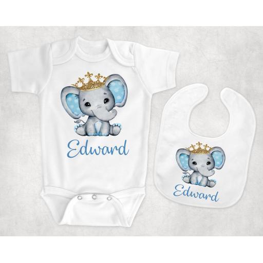 Blue Elephant Personalised Baby Clothing
