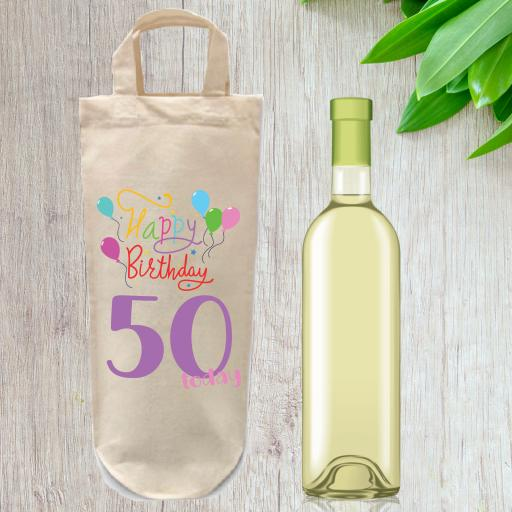 Happy Birthday Number Cotton Bottle Bag