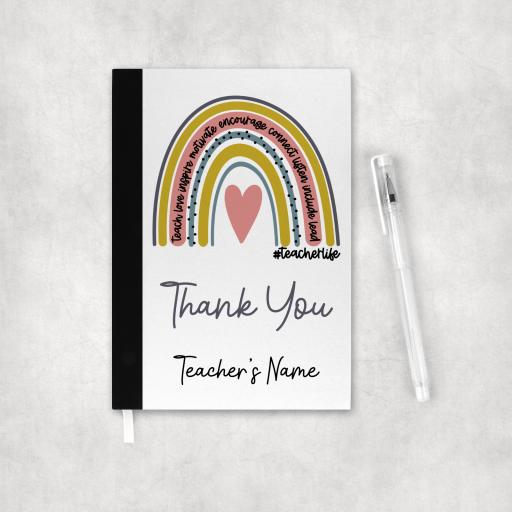 Teacherlife Rainbow Thank You Personalised Notebook