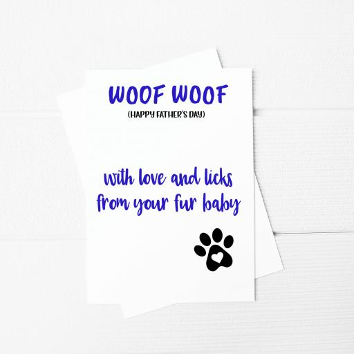 Woof Woof Happy Fathers Day Funny Fathers Day A5 Card & Envelope