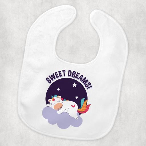 sweet dreams unicorn baby Bib.png