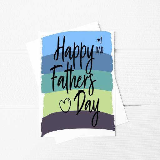 Happy Fathers Day #1 Dad A5 Card & Envelope