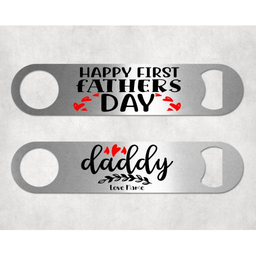 Happy First Father's Day Bar Blade Bottle Opener Personalised