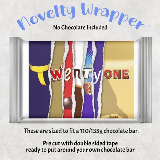 Twenty One Birthday Chocolate Bar Wrapper