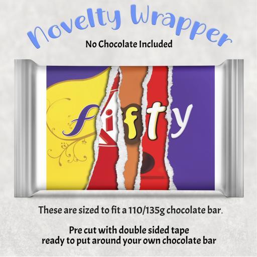 Fifty Birthday Chocolate Bar Wrapper