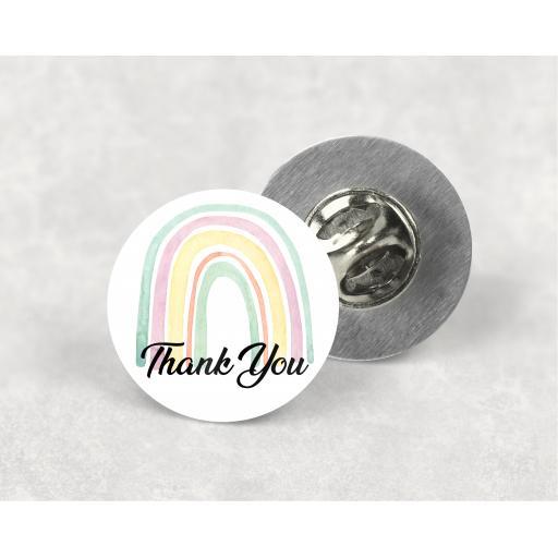 Thank You Rainbow Metal Lapel Badge