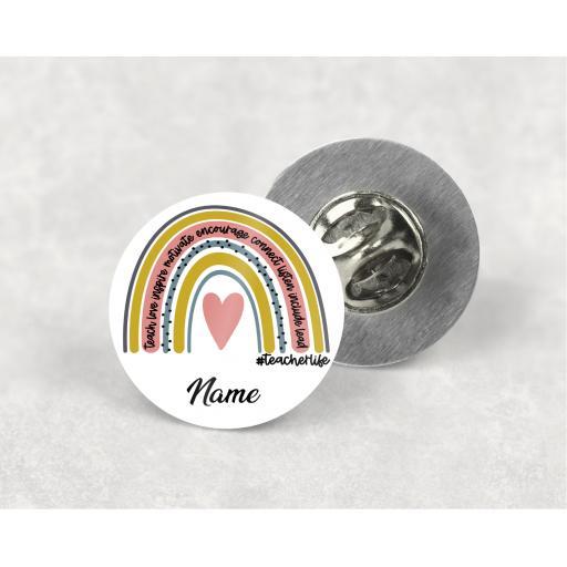 Teacher Life Rainbow Personalised Metal Lapel Badge