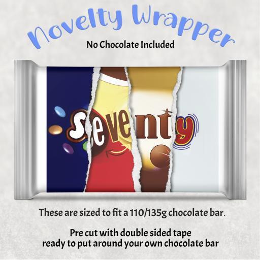 Seventy Birthday Chocolate Bar Wrapper