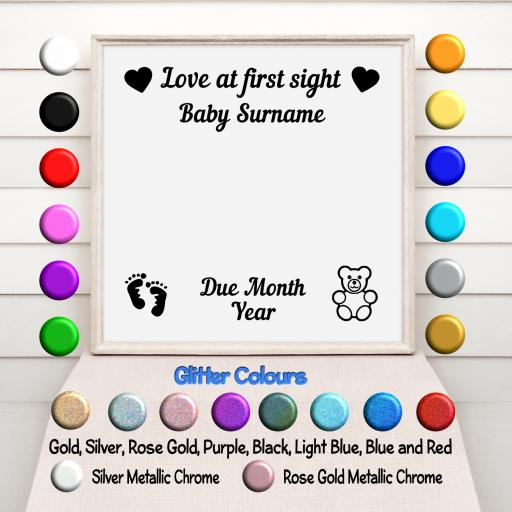 Love at First Sight Personalised Vinyl Glass Block / Photo Frame Decal / Sticker / Graphic