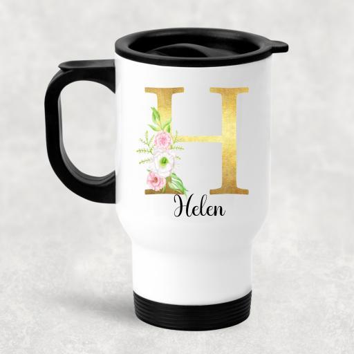 Gold Floral Alphabet Personalised Travel Mug