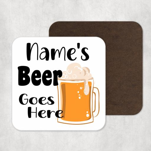 Name's Beer Goes Here V2 Personalised Coaster