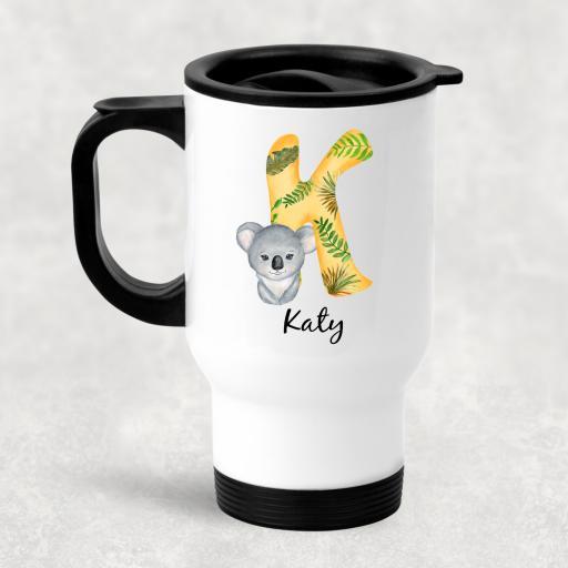 Animal Alphabet Personalised Travel Mug