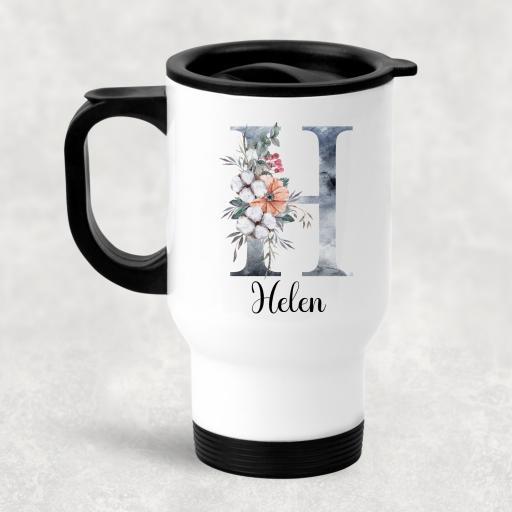 Christmas Watercolour Flower Personalised Travel Mug