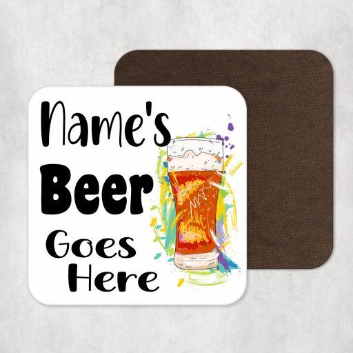 Name's Beer Goes Here Personalised Coaster