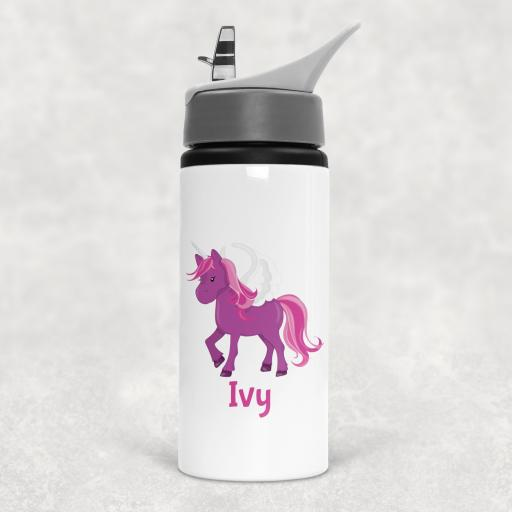 Unicorn Personalised Sports Water Bottle with Straw