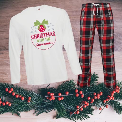 Christmas with the Personalised Tartan Christmas Pyjamas Adult