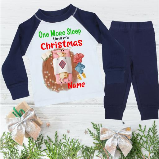 One More Sleep Giraffe Personalised Christmas Pyjamas