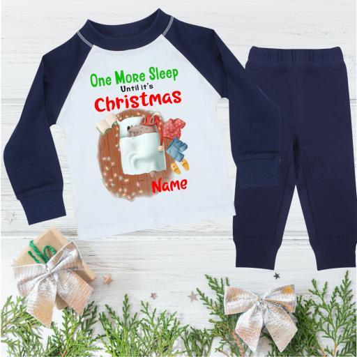 One More Sleep Wolf Personalised Christmas Pyjamas