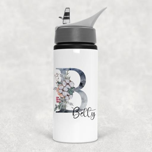 Christmas Flower Alphabet Personalised Sports Water Bottle with Straw