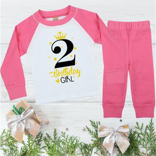 2nd Birthday Girl Princess Birthday Pyjamas