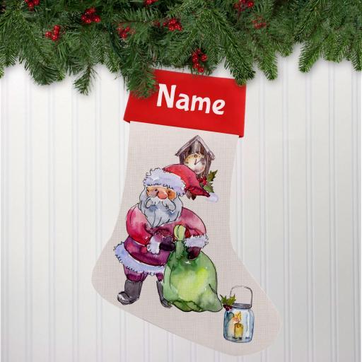 Watercolour Santa Linen Personalised Christmas Stocking