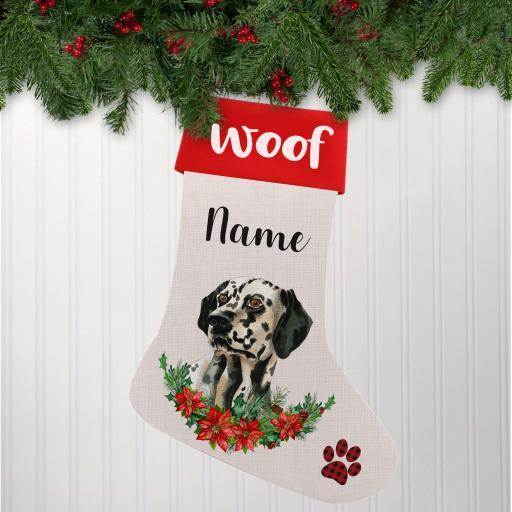 Dalmation Linen Personalised Christmas Stocking