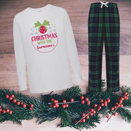 Christmas with the Personalised Tartan Christmas Pyjamas Child