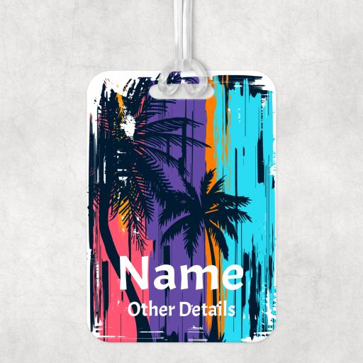 Palm Tree Personalised Luggage Bag Tag