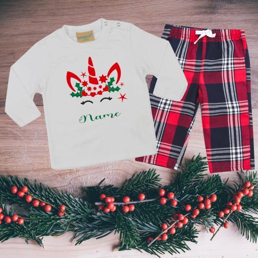Unicorn Personalised Tartan Christmas Pyjamas Toddler