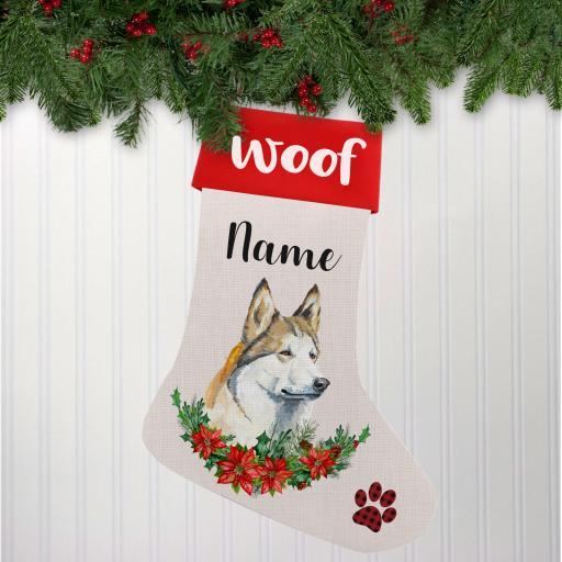 Husky Dog Linen Personalised Christmas Stocking