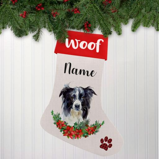 Border Collie Linen Personalised Christmas Stocking
