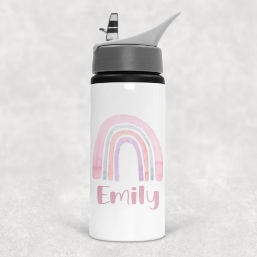 Rainbow Personalised Sports Water Bottle with Straw