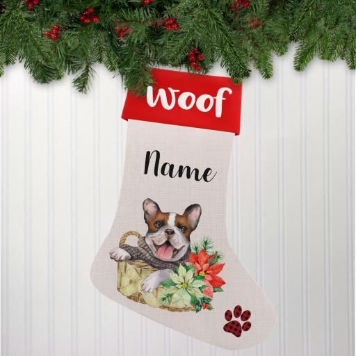 French Bulldog Linen Personalised Christmas Stocking