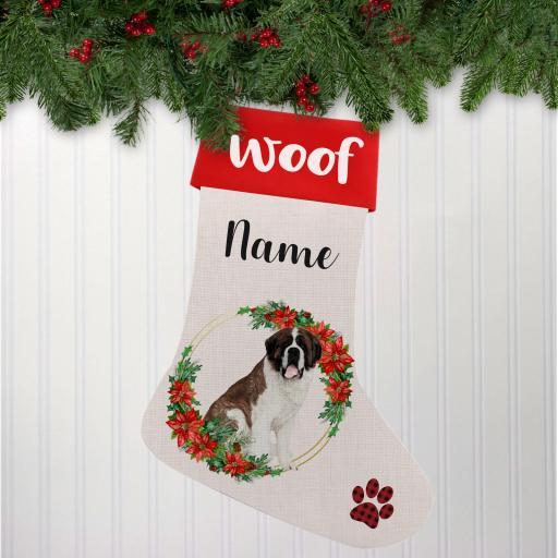Saint Bernard Linen Personalised Christmas Stocking