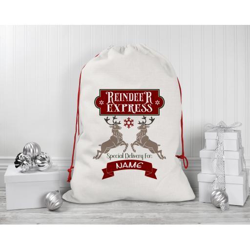 Reindeer Express Personalised Drawstring Sack