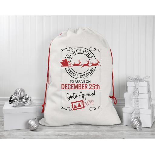 North Pole Special Delivery Drawstring Sack