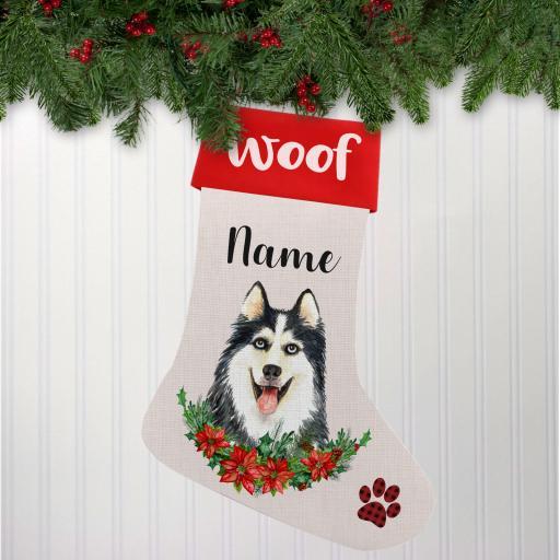 Husky V2 Dog Linen Personalised Christmas Stocking