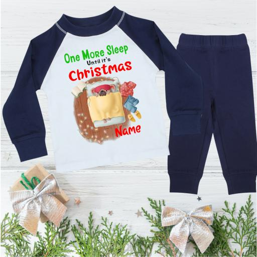 One More Sleep Puppy Personalised Christmas Pyjamas