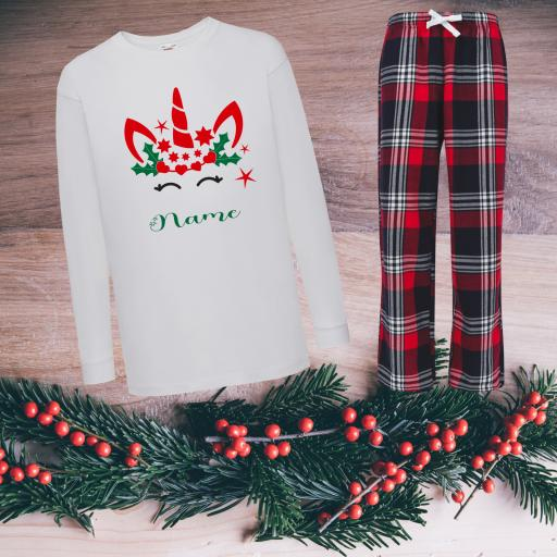 Unicorn Personalised Tartan Christmas Pyjamas Child