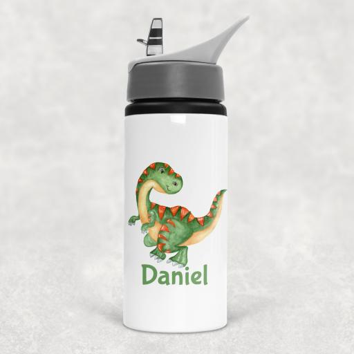 Dinosaur Personalised Sports Water Bottle with Straw