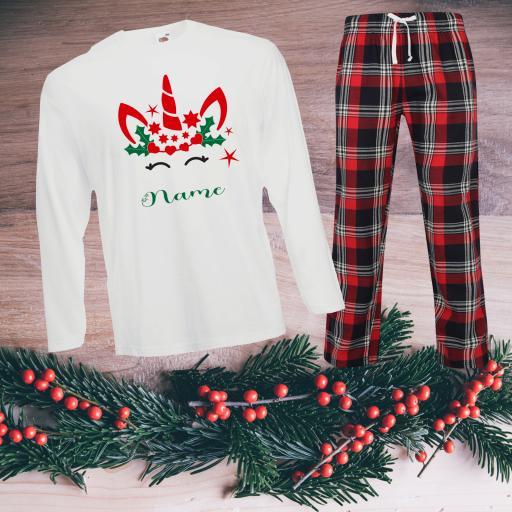 Unicorn Personalised Tartan Christmas Pyjamas Adult