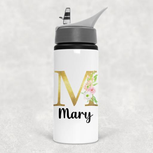 Gold Floral Alphabet Personalised Sports Water Bottle with Straw