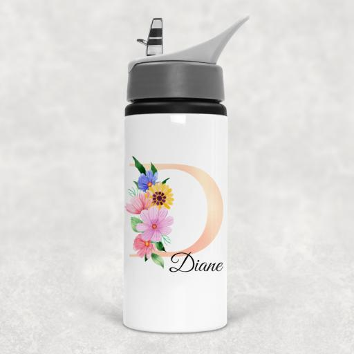 Flower Alphabet Pearl Pink Personalised Sports Water Bottle with Straw