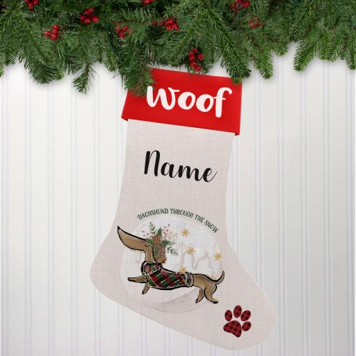 Dachshund Through the Snow Linen Personalised Christmas Stocking