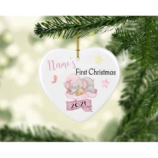 Personalised First Christmas Elephant Ceramic Heart Ornament
